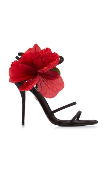 Keira Floral-Embellished Leather Sandals