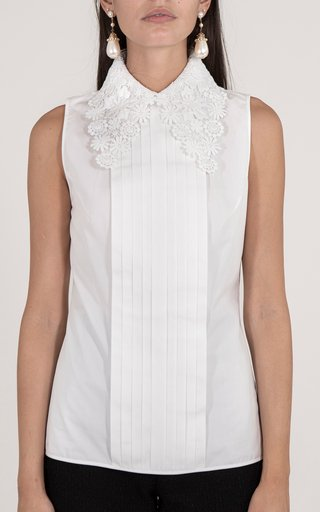 Floral-Embroidered Silk Collared Bib