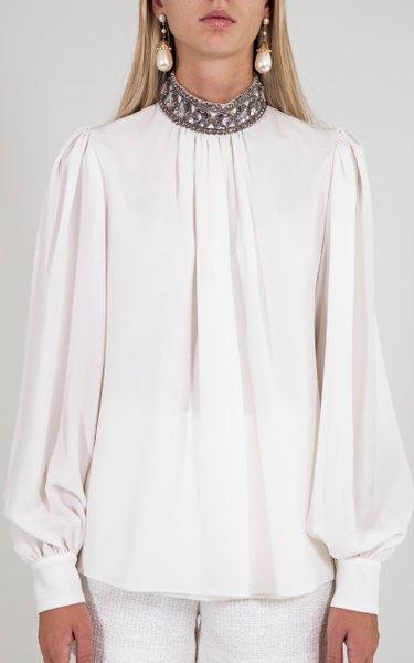 Embellished Collar Silk Top