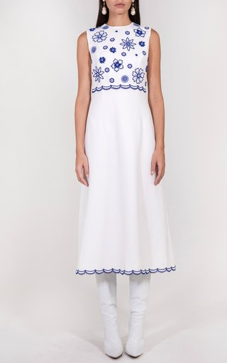 Floral Embroidered Crepe Midi Dress