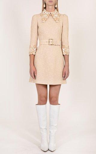 Embroidered Cuff Mini Dress