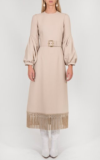 Belted Fringe Midi Dress