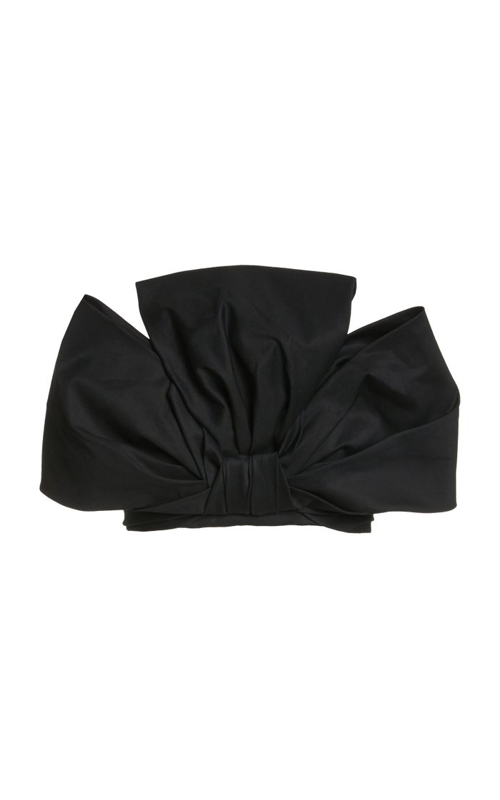 Dramatic Bow Stretch Cotton Twill Bandeau Top
