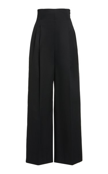 Stretch Cotton Twill High Waisted Pants