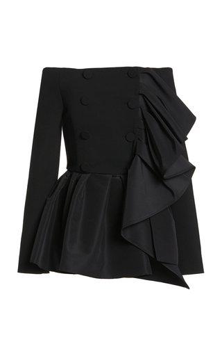 Ruffled Wool Off-The-Shoulder Jacket