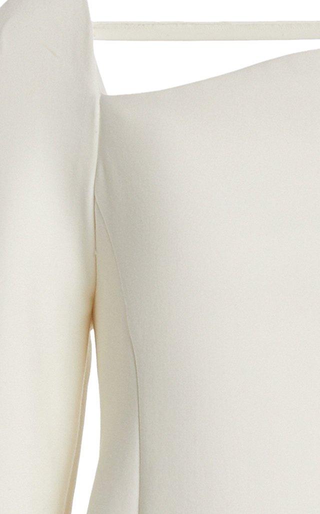 Curved Neckline Double Wool Mini Dress