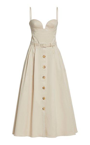 Button-Front Cotton Twill Midi Dress