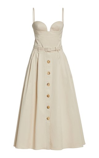 Button-Front Cotton Twill Midi Dress