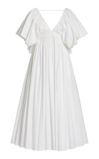 Gathered Cotton Midi Dress