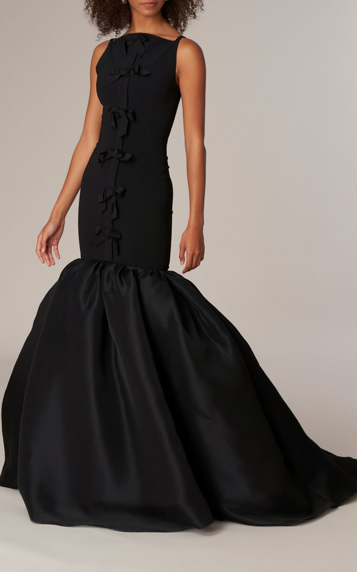 Stretch Fluid Crepe Trumpet Gown