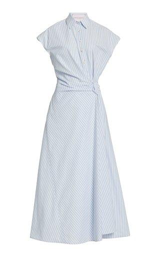 Knotted Striped Cotton-Blend Maxi Shirt Dress
