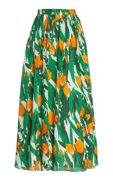 Tulip-Print Silk Maxi Skirt