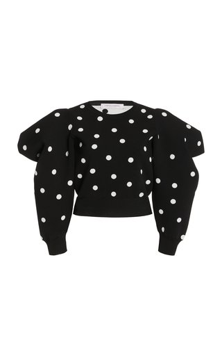 Puff-Sleeve Dot-Knit Cropped Sweater