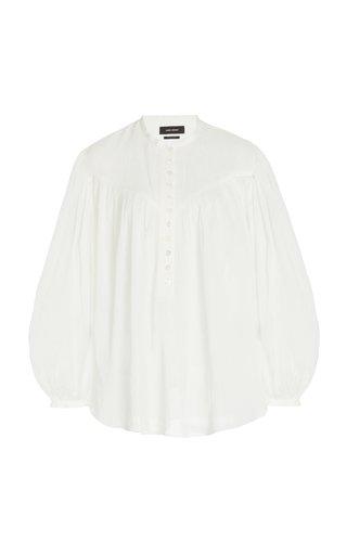 Kiledia Puff-Sleeve Cotton-Silk Top