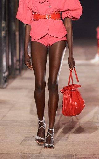Ailey Drawstring Leather Shoulder Bag