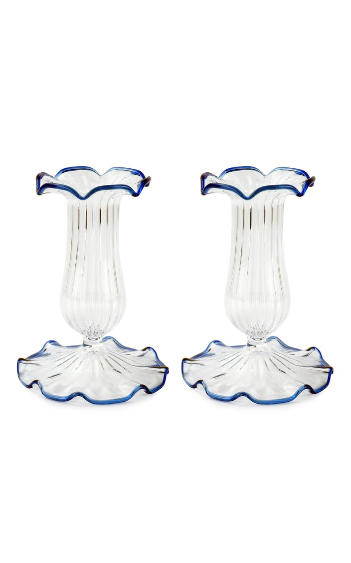 Set-Of-Two Small Scalloped Glass Candle Sticks