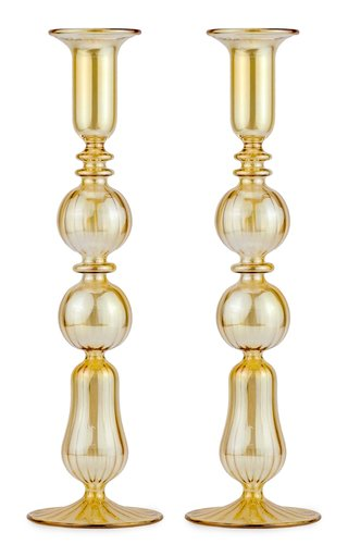 Set-Of-Two Tall Glass Candle Sticks