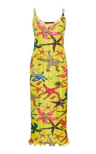 Printed Plisse Midi Dress