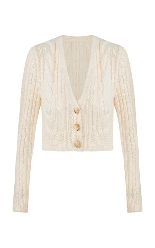 Dubilet Cable-Knit Wool-Blend Cropped Cardigan