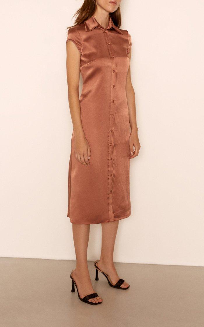 Miuccia Backless Satin Midi Dress