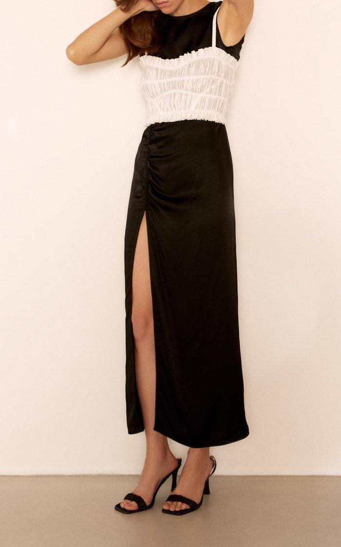 Agata Satin Slit Midi Dress