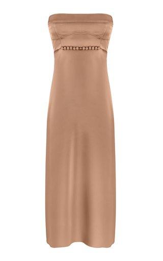 Mira Strapless Satin Midi Dress