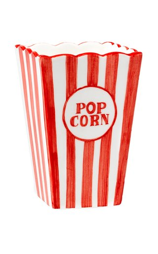 Small Ceramic Pop Corn Bucket, hand-painted decoration