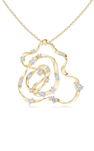 14k Gold Dispersed Diamond Sakura Pendant