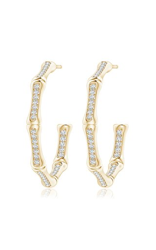 Indochine Bamboo 14k Gold Diamond Hoops