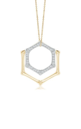 Indochine Hexagonal Bamboo 14k Gold Diamond Pendant Duo