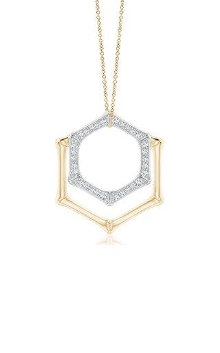 Indochine Hexagonal Bamboo 14k Gold Diamond Pendant Duo