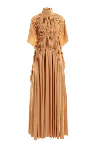 High-Neck Smocked Stretch Jersey Maxi Dress