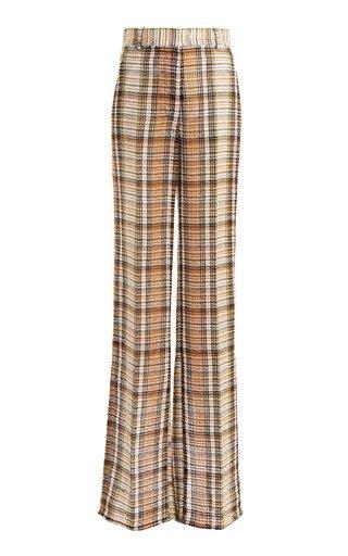 Split-Hem Straight-Leg Linen Pants