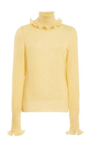 Frill-Detail Ribbed Knit Shirt