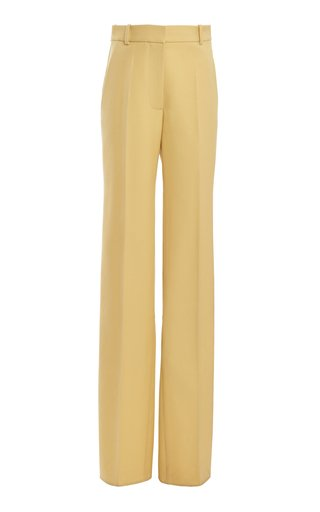 Virgin Wool Split-Hem Straight-Leg Pants