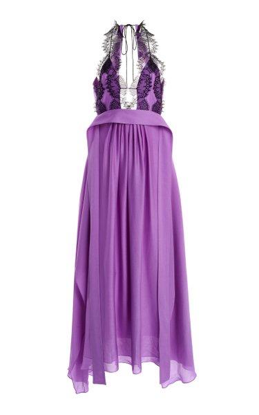 Woven Silk Jersey Lace Cami Dress
