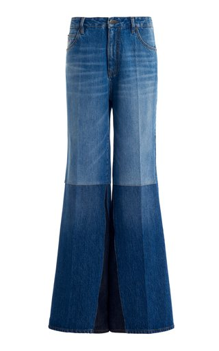 Patchwork Flare-Leg Jeans