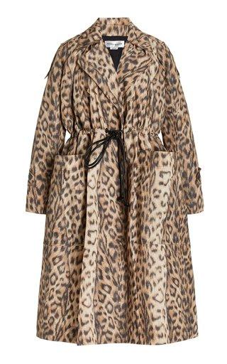 Leopard Paneled Tech Trench Coat