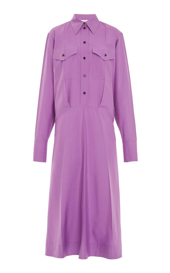 Silk Poplin Utility Shirt Dress