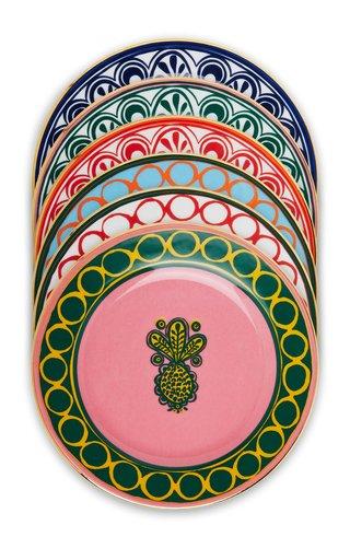 Set-Of-Six Painted Porcelain Dessert Plates