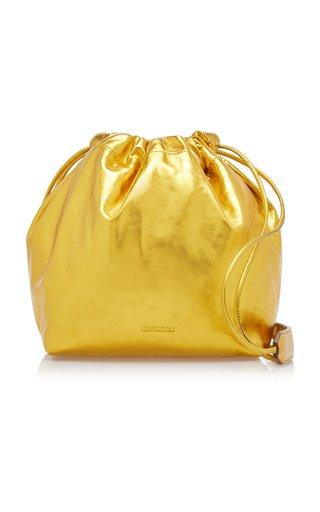 Small Drawstring Metallic Leather Shoulder Bag