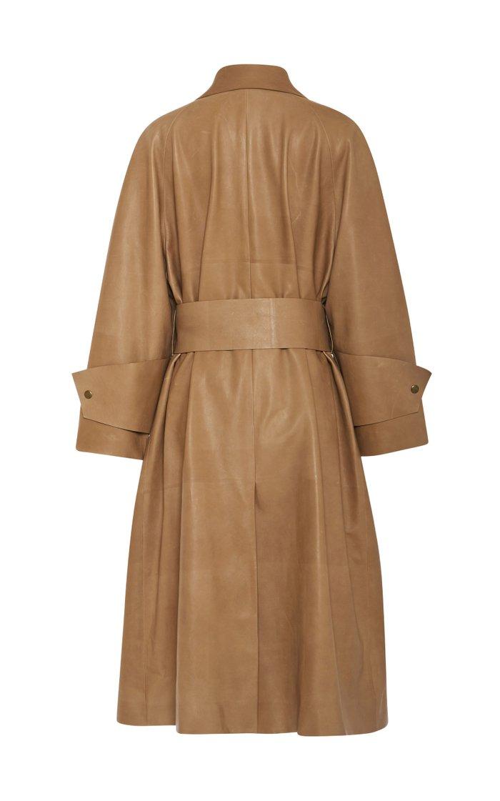 Au Belted Leather Wrap Coat