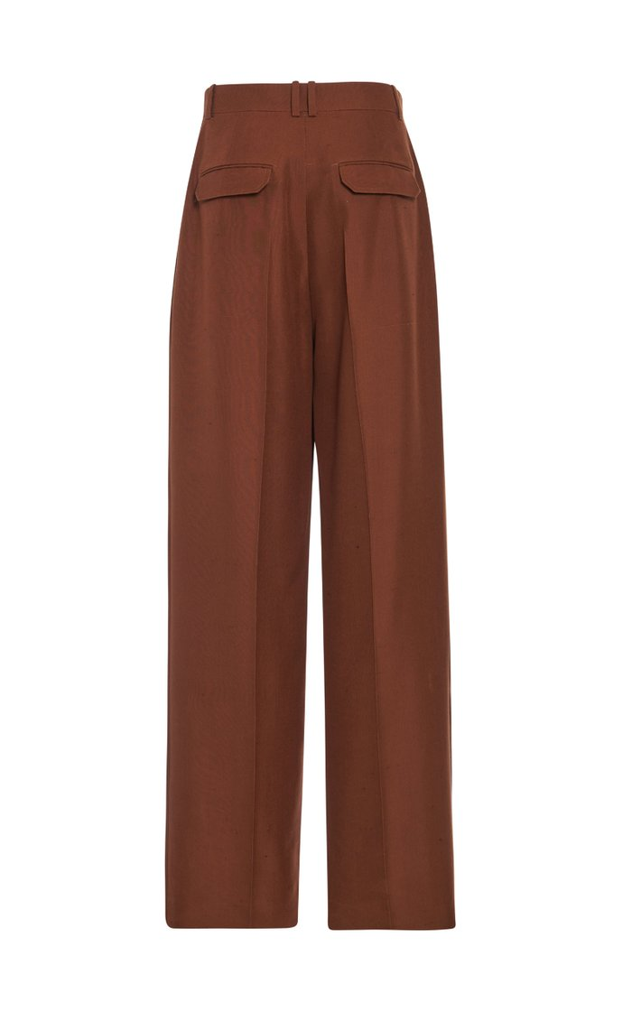 Nino Pintucked Silk Straight-Leg Pants