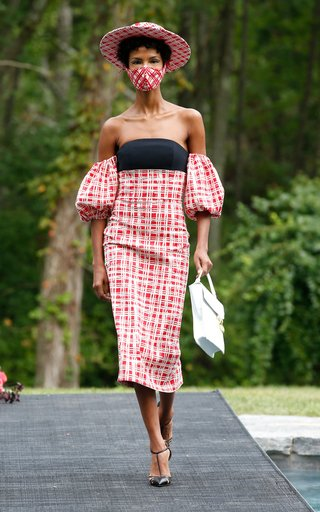 Gingham Off The Shoulder Puff Sleeve Dress