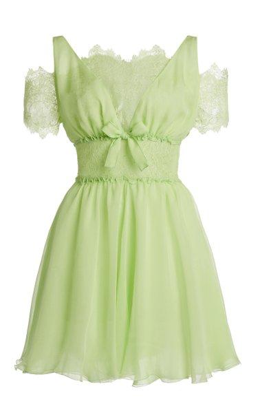 Silk Georgette Lace-Detail Mini Dress