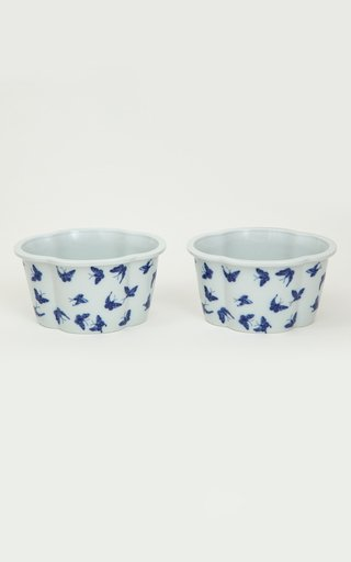 Pair Of Mottahedeh Butterfly Porcelain Cachepots