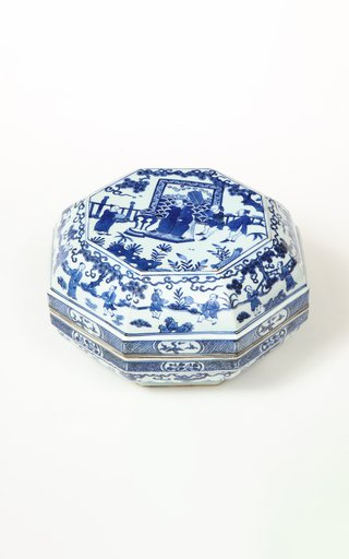 Chinese Export Blue & White Porcelain Octagonal Covered Box