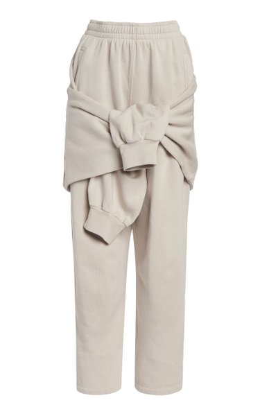 Tied-Up Cotton Fleece Sweatpants