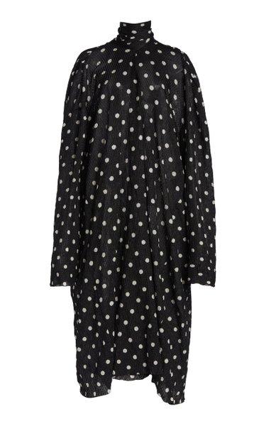 Polka-Dot Ribbed-Knit Tie-Neck Midi Dress