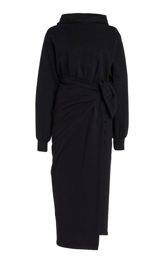 Hooded Cotton Midi Wrap Dress